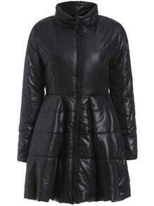Black High Neck Zipper Thicken Coat