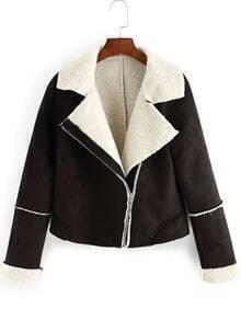 Black Lapel Oblique Zipper Crop Coat