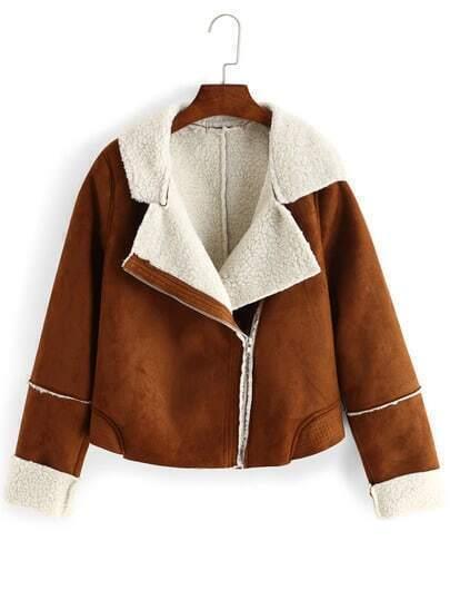Brown Lapel Oblique Zipper Crop Coat