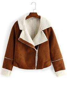 Brown Lapel Oblique Zipper Crop Coat