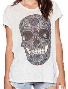 White Short Sleeve Skull Print Loose Tshirt
