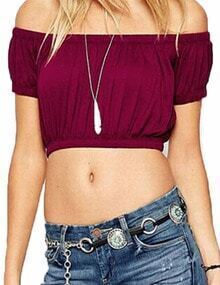 Burgundy Off The Shoulder Pleated Crop