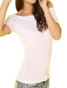 White Off The Shoulder Elastic Tshirt
