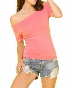 Pink Off The Shoulder Elastic Tshirt