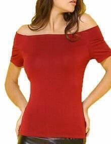 Burgundy Off The Shoulder Elastic Tshirt