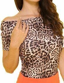 Leopard Off The Shoulder Elastic Tshirt