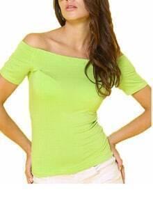 Green Off The Shoulder Elastic Tshirt