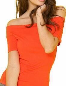 Orange Off The Shoulder Elastic Tshirt