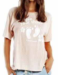 Pink Short Sleeve Footprint Print Tshirt