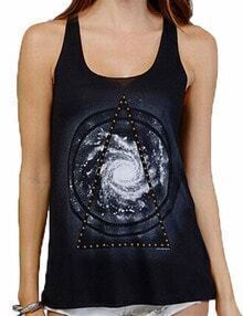 Black U Neck Galaxy Print Cami Top