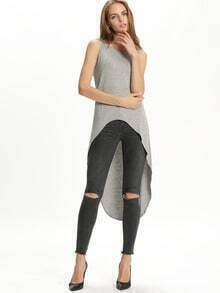 Grey Sleeveless High Low Tank Top