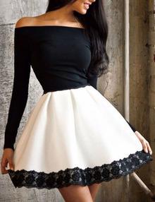 Contrast Long Sleeve Lace Trim Skater Dress