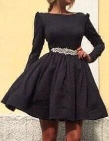 Black Boat Neck Long Sleeve Skater Dress