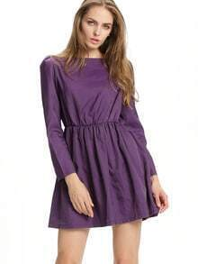 Purple Boat Neck Long Sleeve Skater Dress