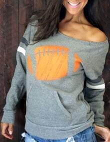 Grey Long Sleeve Boat Neck Print Sweatshirt