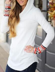 White Printed Cuff Hooded Sweatshirt