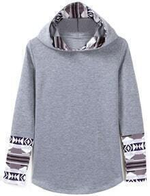 Grey Printed Cuff Hooded Sweatshirt
