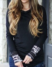 Black Printed Cuff Hooded Sweatshirt