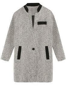 Grey Contrast Collar Pocket Knee Lenght Coat