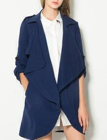 Navy Waterfall Shoulder Epaulette Wrap Coat