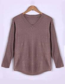 Dark Pink V Neck Long Sleeve Loose Sweater