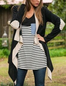Contrast Waterfall Elbow Patch Cardigan