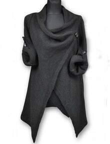 Deep Grey Draped Collar Adjustable Sleeves Cardigan