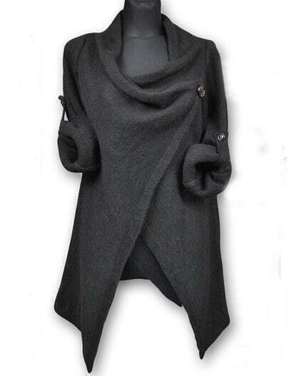 Deep Grey Draped Collar Adjustable Sleeves Cardigan