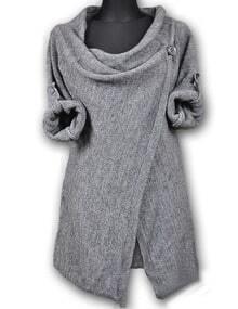 Grey Draped Collar Adjustable Sleeves Cardigan