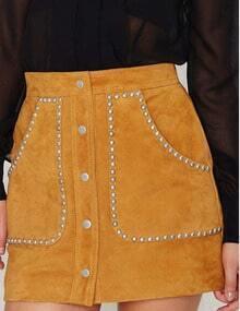 Orange Rivet Embellished Pocket Button Skirt