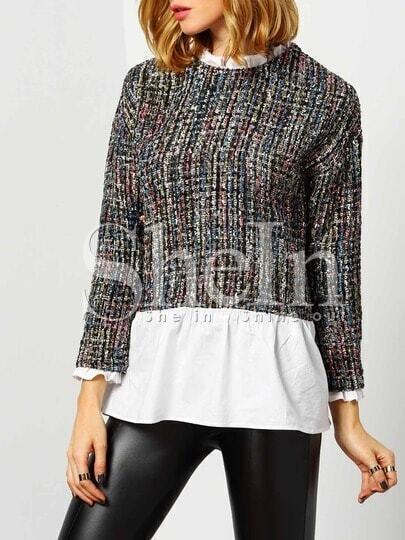 Multicolor Round Neck Color Block Blouse