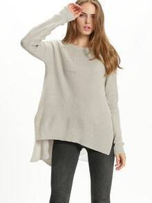 Grey Round Neck Loose Sweater