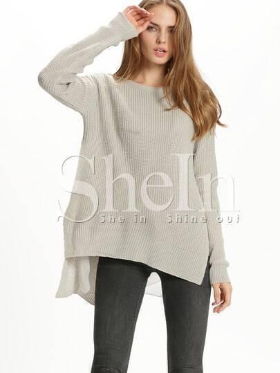 Jersey cuello redondo suelto -gris