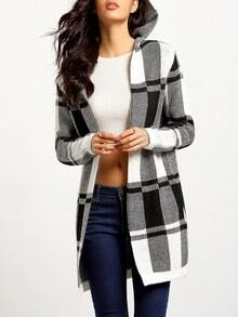 Black White Hooded Long Sleeve Plaid Cardigan