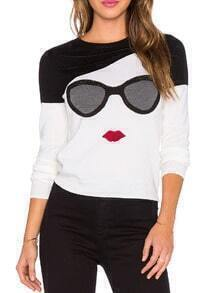 Black White Long Sleeve Glasses Print Sweater