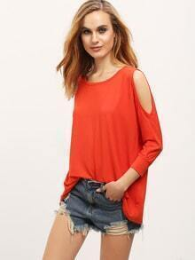 Orange Long Sleeve Cold Shoulder T-Shirt