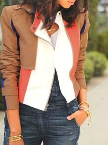 Brown Long Sleeve Color Block Jacket