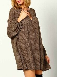 Brown Long Sleeve Vintage Print Dress