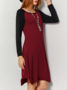 Burgundy Black Long Sleeve Color Block Dress