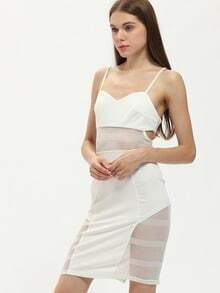 White Spaghetti Strap Contrast Mesh Yoke Dress