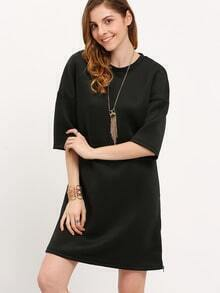 Black Round Neck Casual Dress