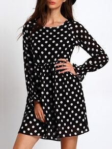 Black Long Sleeve Polka Dot Dress