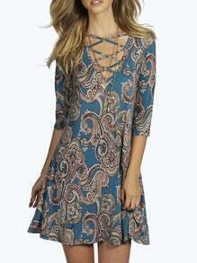 Blue V Neck Vintage Print Dress