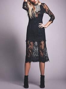 Black Round Neck Lace Dress