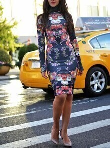 Blue Long Sleeve Floral Sheath Dress