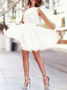 White One Shoulder Pleated Dress