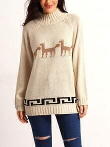 Apricot Long Sleeve Deer Print Sweater