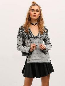 Black White Hooded Long Sleeve Snowflake Print Sweater