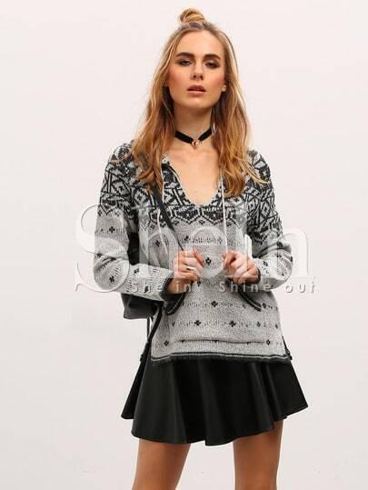 Jersey con capucha manga larga geométrico -negro blanco