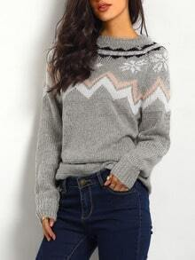 Grey Long Sleeve Snowflake Print Sweater